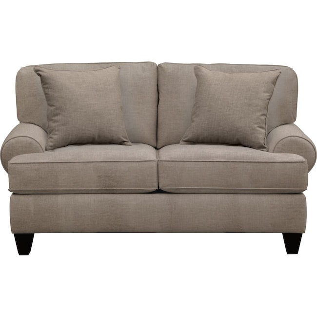 "Living Room Furniture - Bailey Roll Arm Sofa 67"" Oakley III Granite w/ Oakley III Granite Pillow"