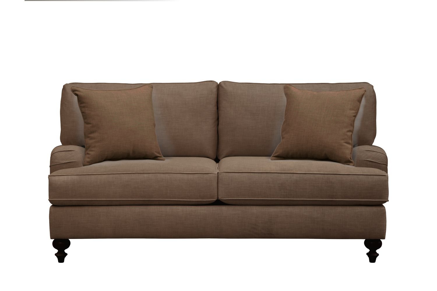 "Living Room Furniture - Avery English Arm Sofa 74"" Oakley III Java w/ Oakley III Java Pillow"