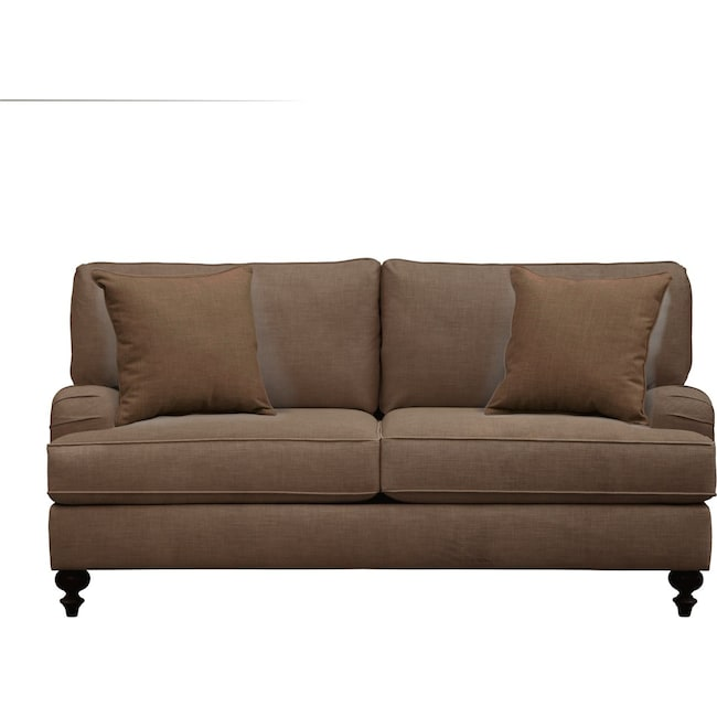 "Living Room Furniture - Avery English Arm Sofa 74"" Oakley III Java w/ Oakley III Java Pillow"