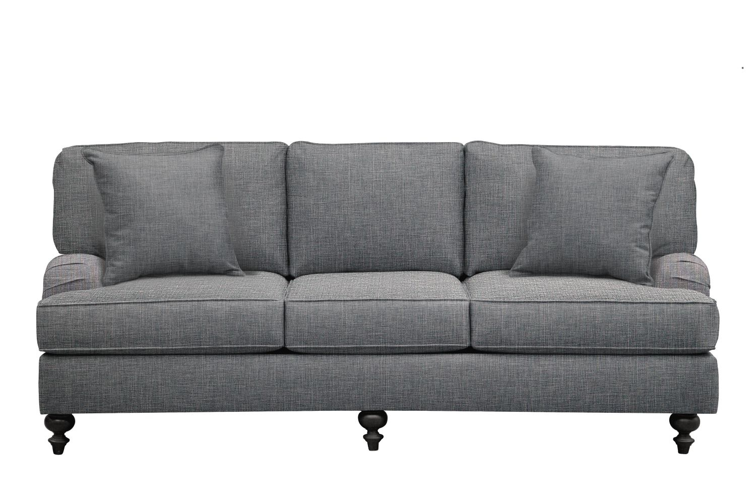 "Living Room Furniture - Avery English Arm Sofa 86"" Milford II Charcoal w/ Milford II Charcoal  Pillow"