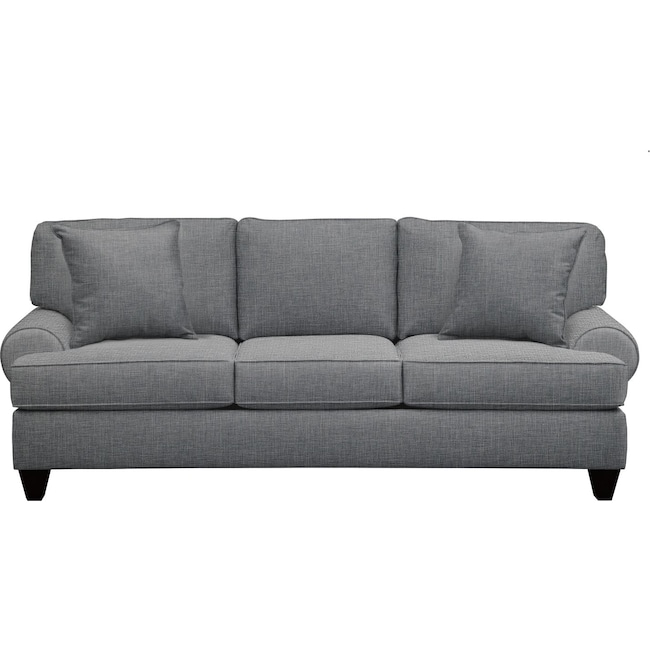 "Living Room Furniture - Bailey Roll Arm Sofa 91"" Milford II Charcoal w/ Milford II Charcoal  Pillow"