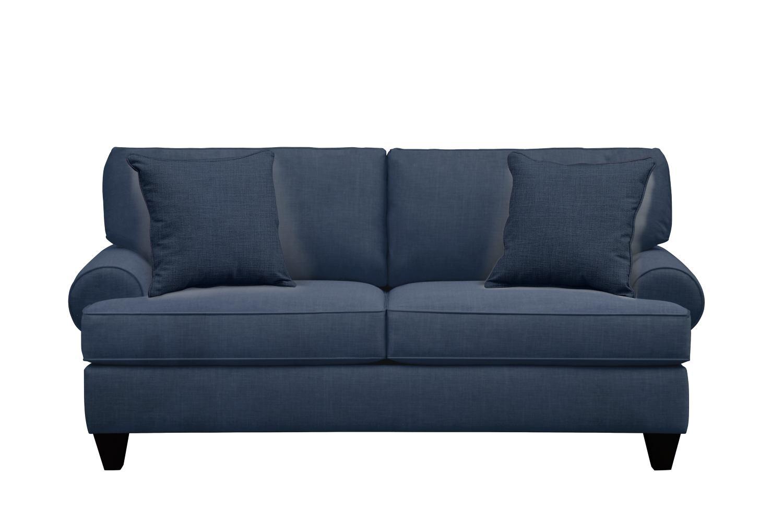 "Living Room Furniture - Bailey Roll Arm Sofa 79"" Oakley III Ink w/ Oakley III Ink Pillow"