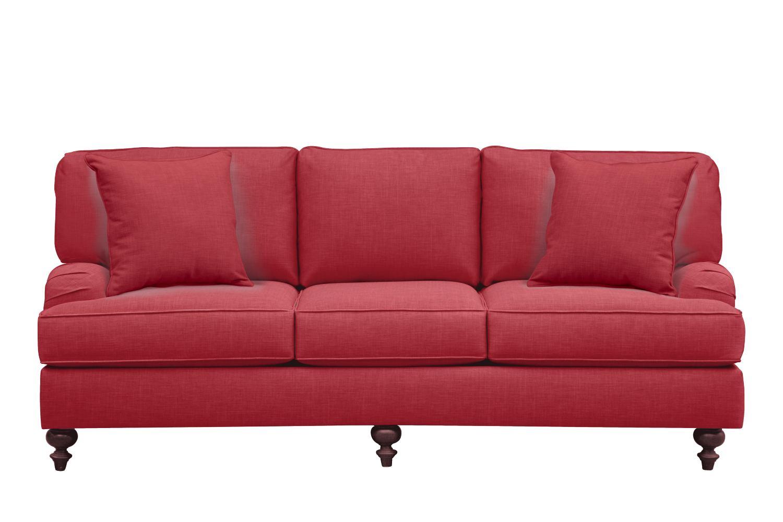 "Living Room Furniture - Avery English Arm Sofa 86"" Oakley III Tomato w/ Oakley III Tomato Pillow"