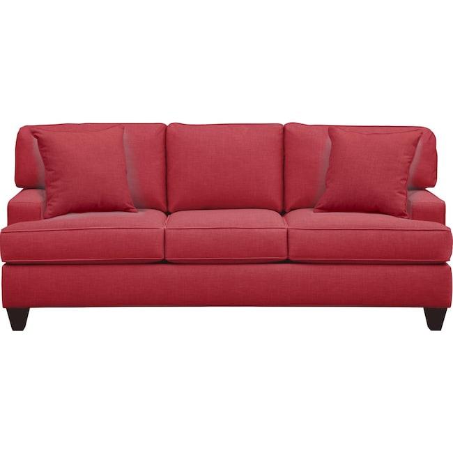 "Living Room Furniture - Conner Track Arm Sofa 87"" Oakley III Tomato w/ Oakley III Tomato Pillow"