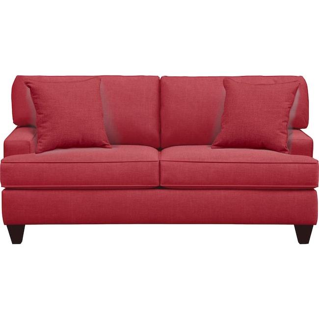 "Living Room Furniture - Conner Track Arm Sofa 75"" Oakley III Tomato w/ Oakley III Tomato Pillow"