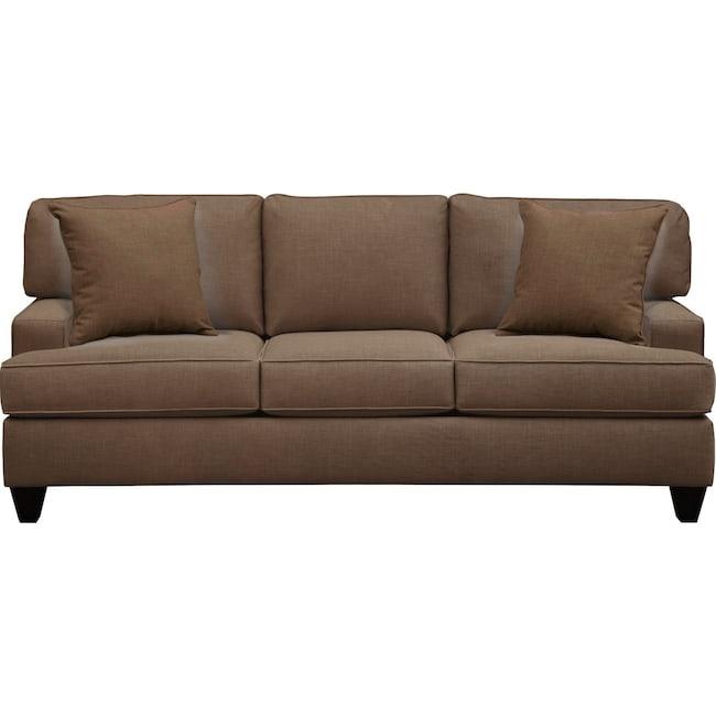 "Living Room Furniture - Conner Track Arm Sofa 87"" Oakley III Java w/ Oakley III Java Pillow"