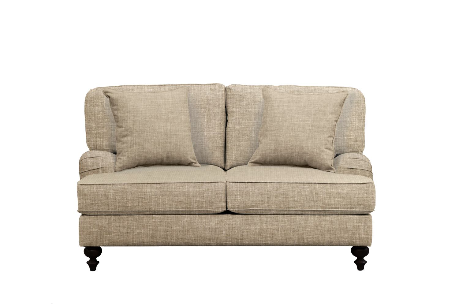 "Living Room Furniture - Avery English Arm Sofa 62"" Milford II Toast w/ Milford II Toast  Pillow"
