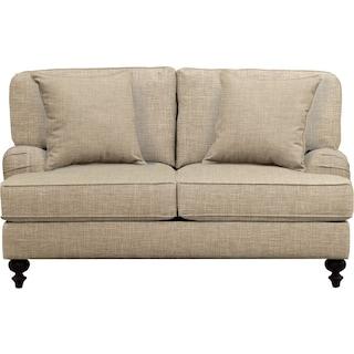 "Avery English Arm Sofa 62"" Milford II Toast w/ Milford II Toast  Pillow"