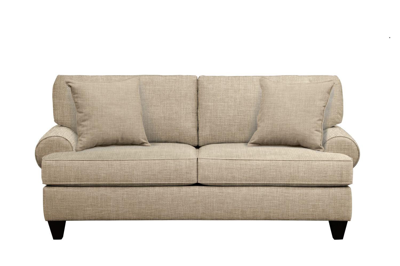 "Living Room Furniture - Bailey Roll Arm Sofa 79"" Milford II Toast w/ Milford II Toast  Pillow"
