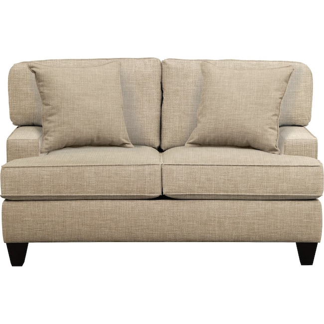 "Living Room Furniture - Conner Track Arm Sofa 63"" Milford II Toast w/ Milford II Toast  Pillow"