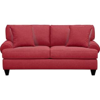 "Bailey Roll Arm Sofa 79"" Oakley III Tomato w/ Oakley III Tomato Pillow"