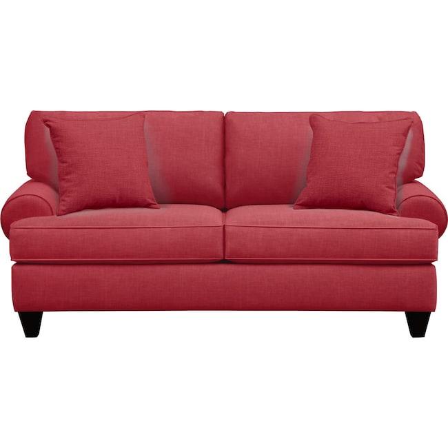 "Living Room Furniture - Bailey Roll Arm Sofa 79"" Oakley III Tomato w/ Oakley III Tomato Pillow"