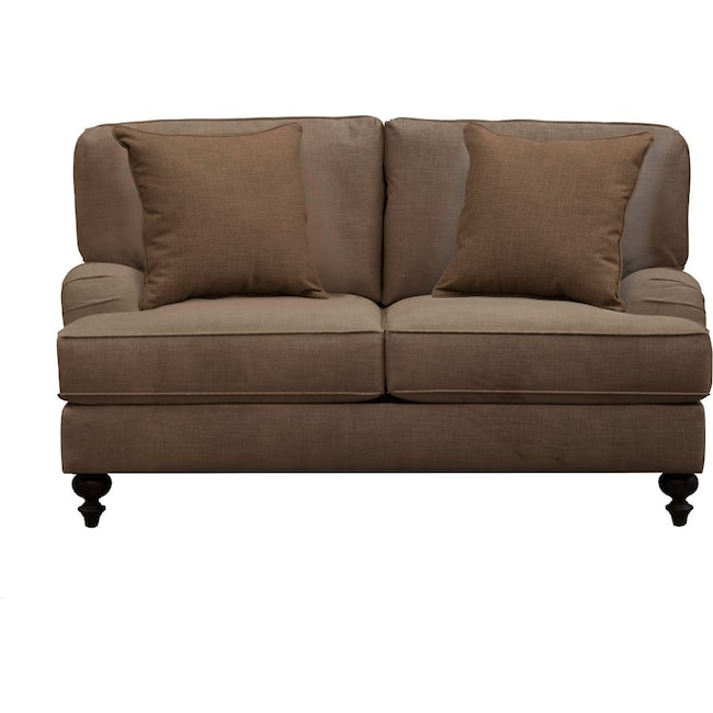 "Living Room Furniture - Avery English Arm Sofa 62"" Oakley III Java w/ Oakley III Java Pillow"