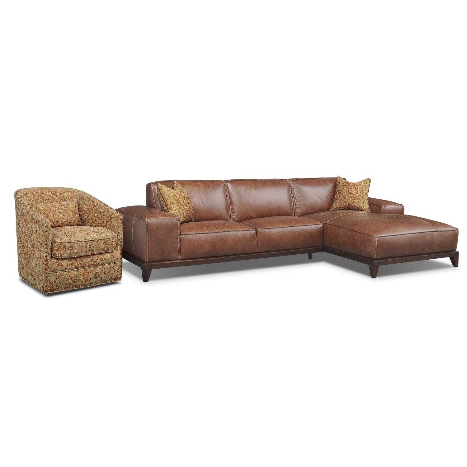 Living Room Furniture - Harrison 2-Piece Right-Facing Sectional with Swivel Chair - Tobacco