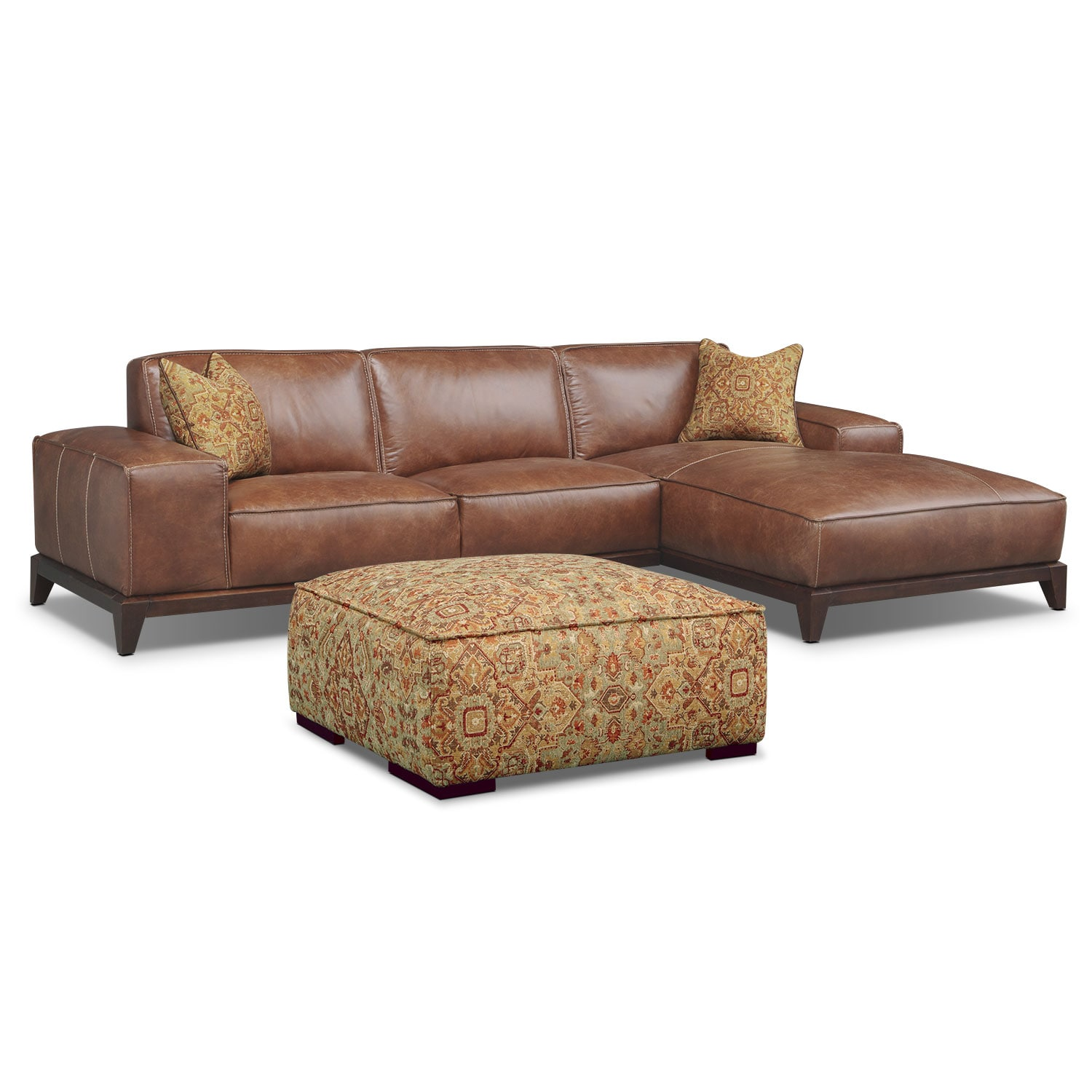 Living Room Furniture - Harrison 2-Piece Right-Facing Sectional with Ottoman - Tobacco
