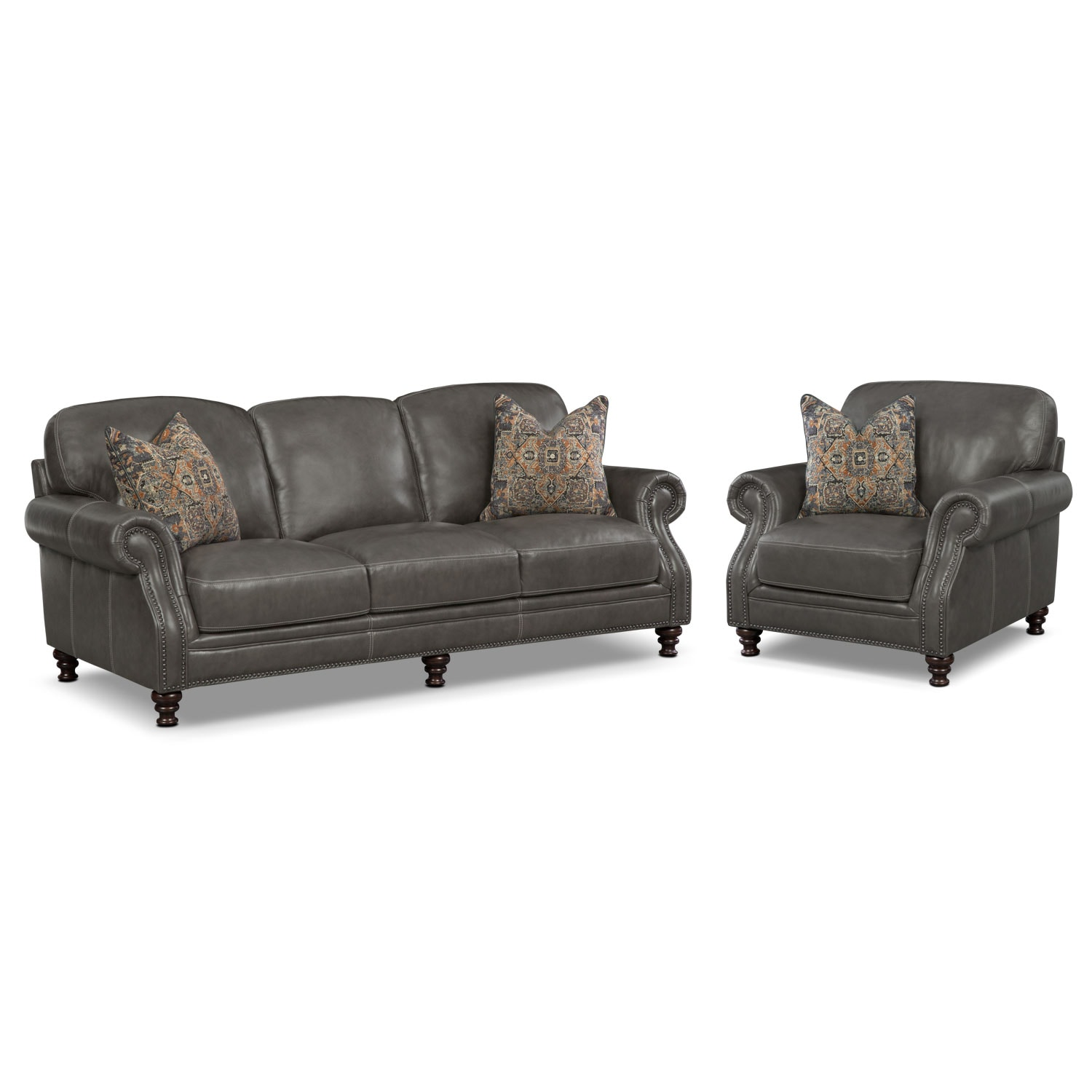Living Room Furniture - Carrington Charcoal 2 Pc. Living Room w/ Chair