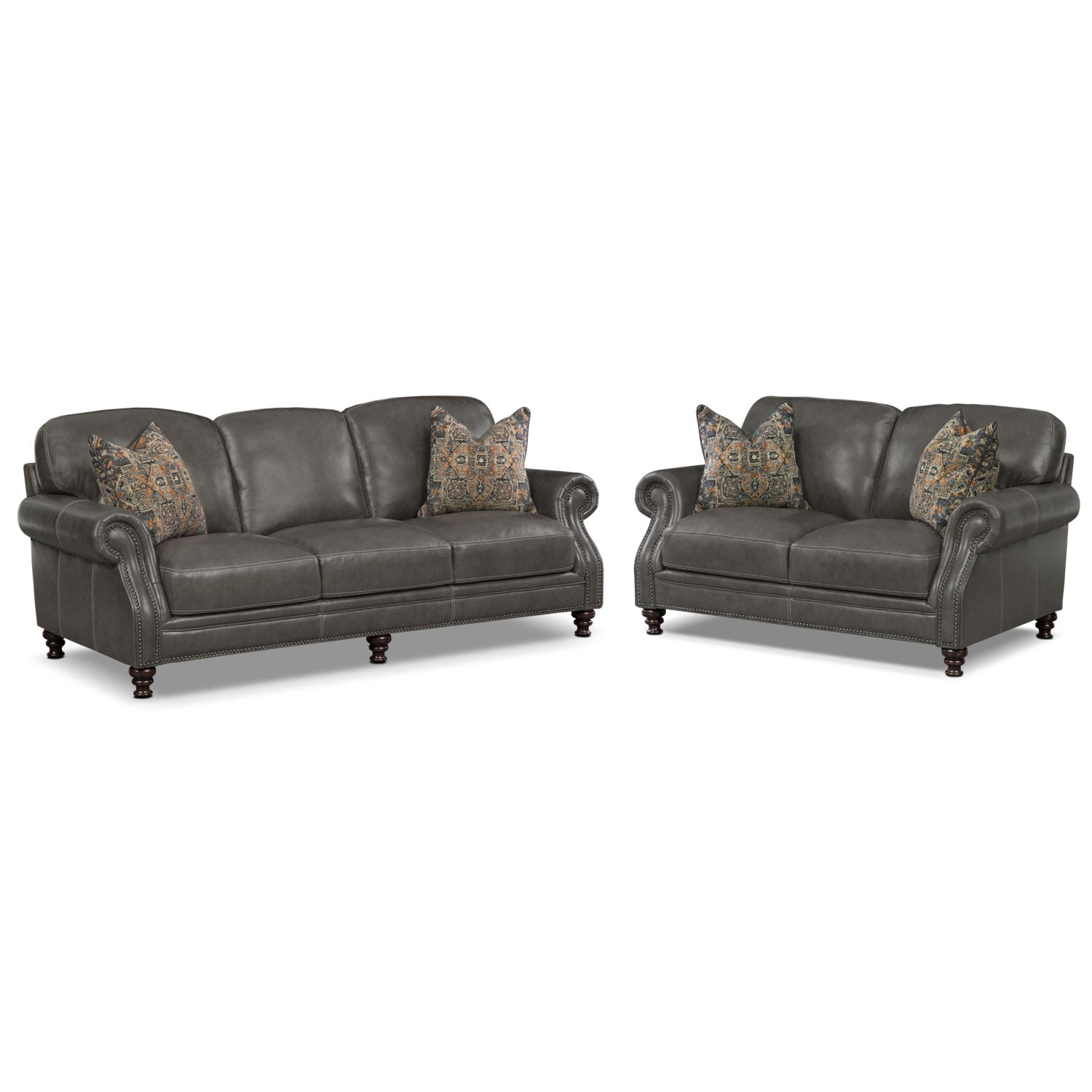 Living Room Furniture - Carrington Charcoal 2 Pc. Living Room