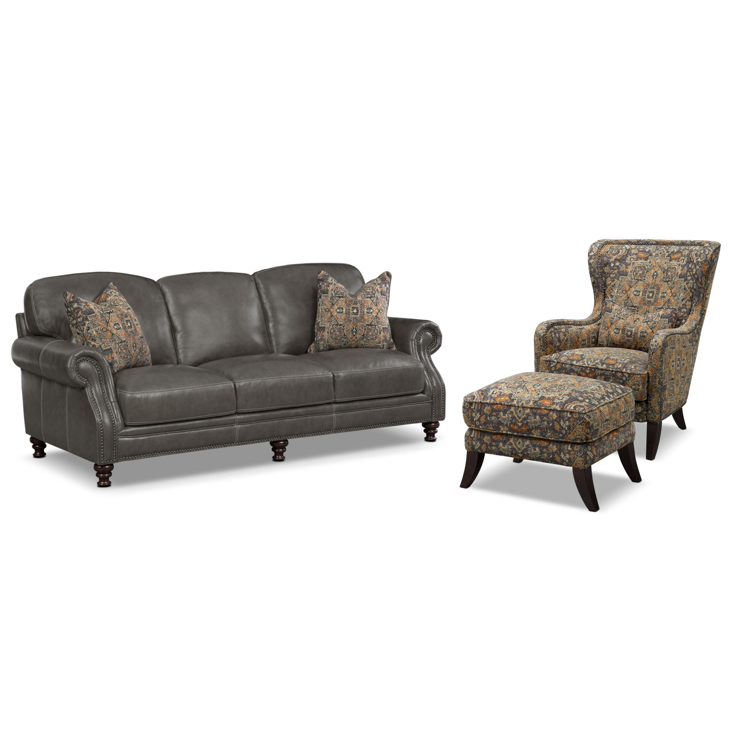 Living Room Furniture - Carrington Charcoal 3 Pc. Living Room w/ Accent Chair and Accent Ottoman