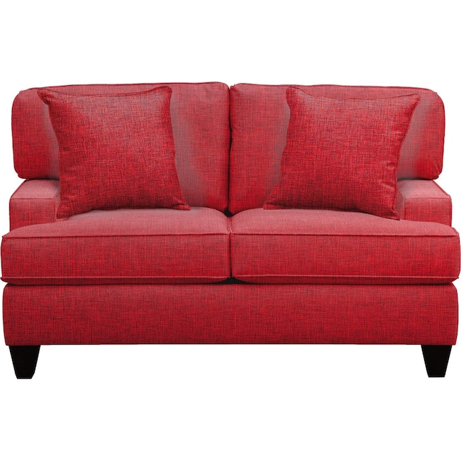 "Living Room Furniture - Conner Track Arm Sofa 63"" Milford II Red w/ Milford II Red  Pillow"