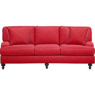 "Avery English Arm Sofa 86"" Depalma Cherry w/ Depalma Cherry Pillow"