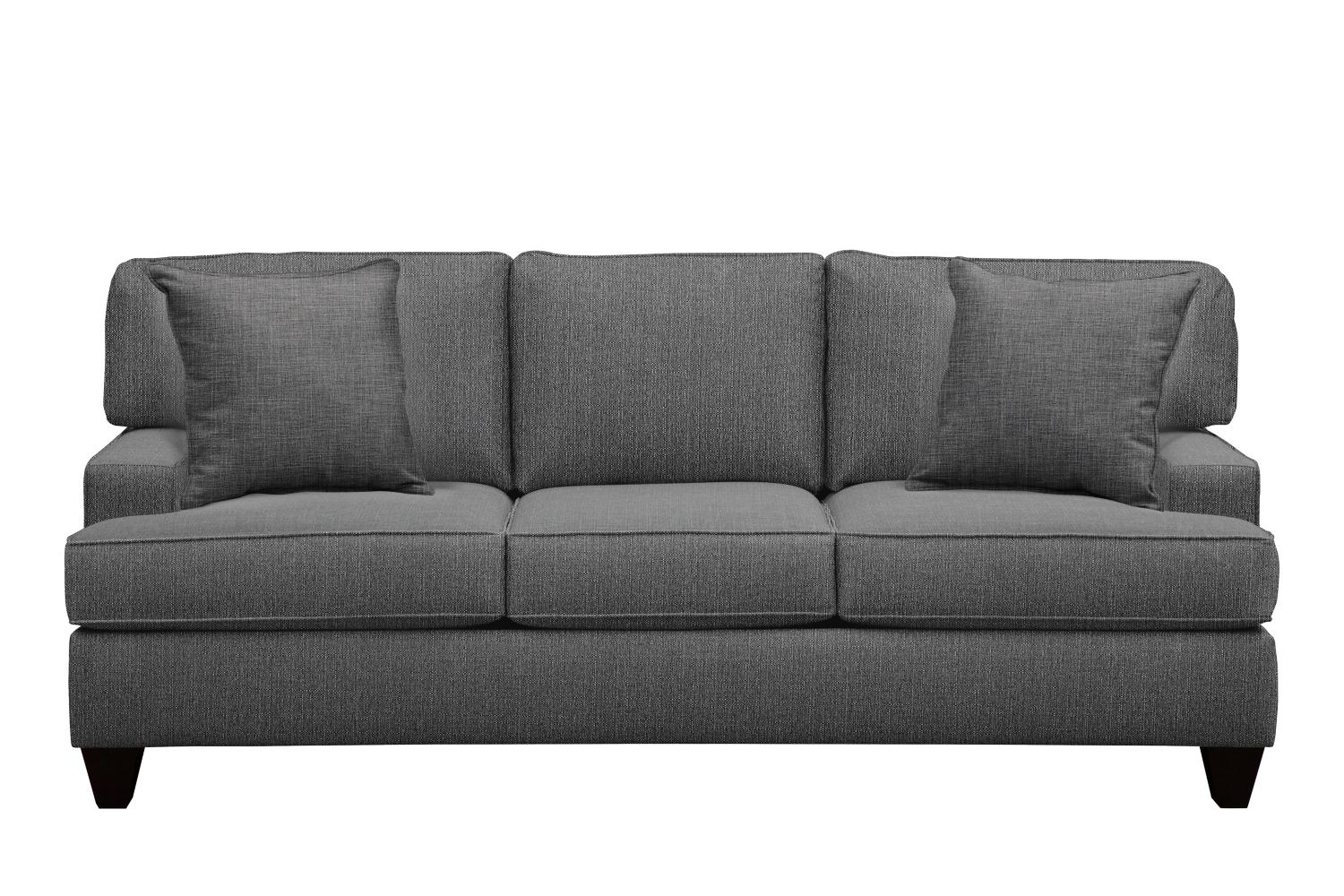 "Living Room Furniture - Conner Track Arm Sofa 87"" Depalma Charcoal w/ Depalma Charcoal Pillow"