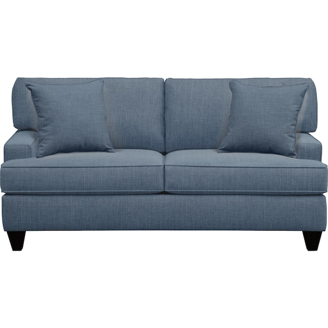 "Living Room Furniture - Conner Track Arm Sofa 75"" Milford II Indigo  w/ Milford II Indigo Pillow"