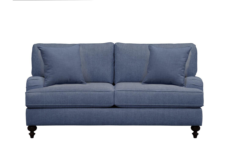"Living Room Furniture - Avery English Arm Sofa 74"" Depalma Ink w/ Depalma Ink Pillow"