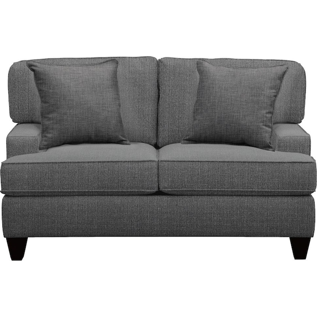 "Living Room Furniture - Conner Track Arm Sofa 63"" Depalma Charcoal w/ Depalma Charcoal Pillow"