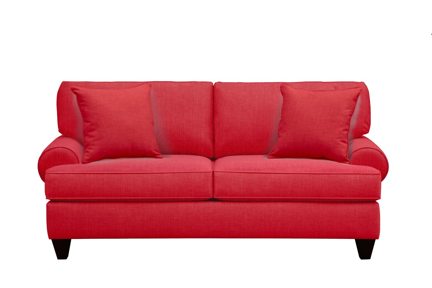 "Living Room Furniture - Bailey Roll Arm Sofa 79"" Depalma Cherry w/ Depalma Cherry Pillow"