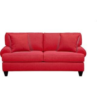 "Bailey Roll Arm Sofa 79"" Depalma Cherry w/ Depalma Cherry Pillow"