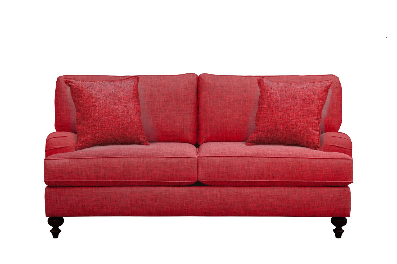"Avery English Arm Sofa 74"" Milford II Red w/ Milford II Red  Pillow"