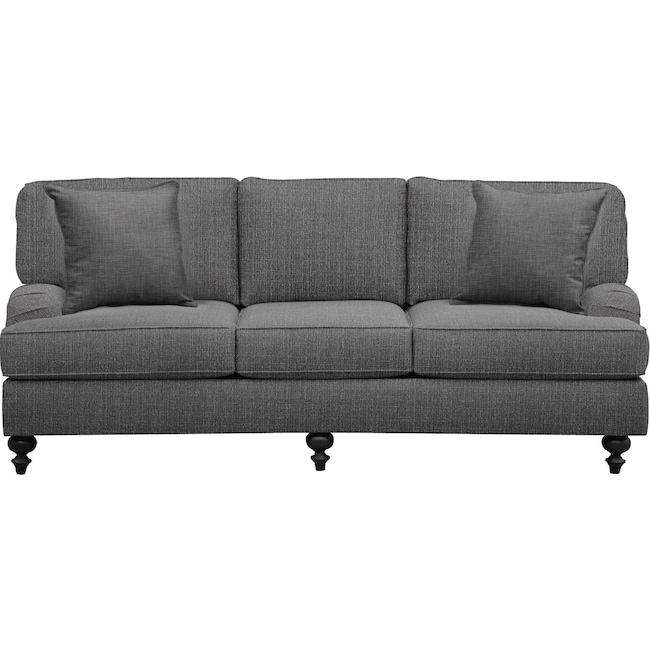 "Living Room Furniture - Avery English Arm Sofa 86"" Depalma Charcoal w/ Depalma Charcoal Pillow"