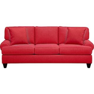 "Bailey Roll Arm Sofa 91"" Depalma Cherry w/ Depalma Cherry Pillow"