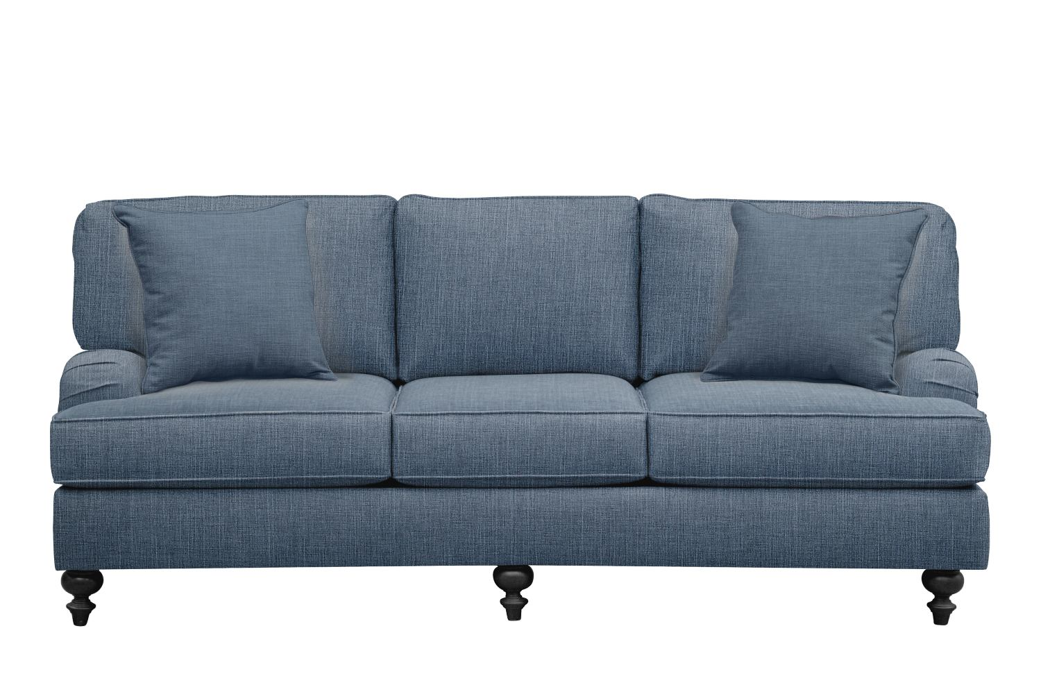 "Living Room Furniture - Avery English Arm Sofa 86"" Milford II Indigo  w/ Milford II Indigo Pillow"