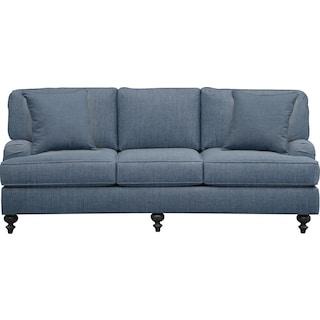 "Avery English Arm Sofa 86"" Milford II Indigo  w/ Milford II Indigo Pillow"
