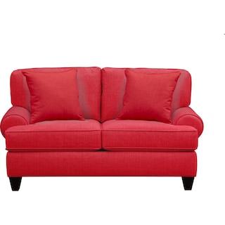 "Bailey Roll Arm Sofa 67"" Depalma Cherry w/ Depalma Cherry Pillow"