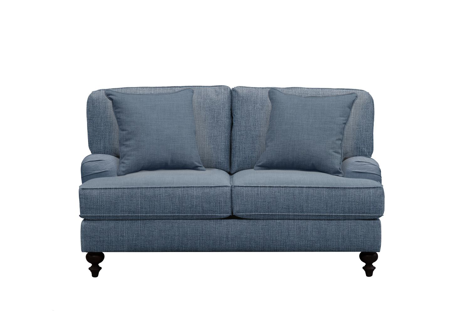 "Living Room Furniture - Avery English Arm Sofa 62"" Milford II Indigo  w/ Milford II Indigo Pillow"