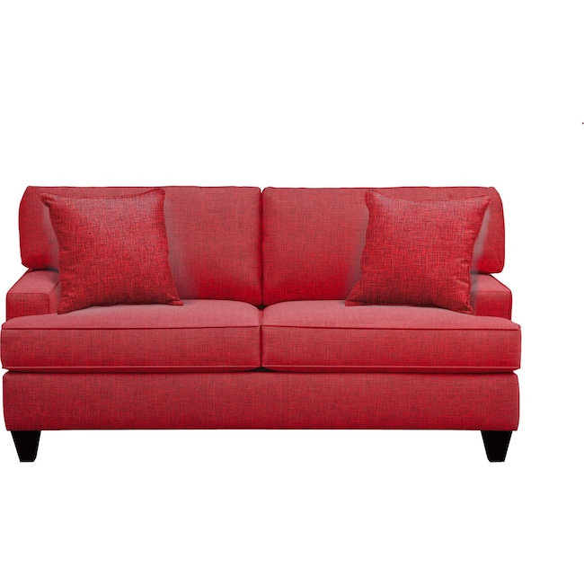 "Living Room Furniture - Conner Track Arm Sofa 75"" Milford II Red w/ Milford II Red  Pillow"
