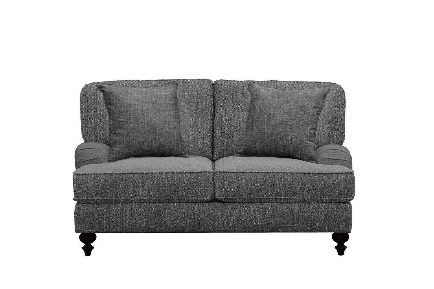 "Living Room Furniture - Avery English Arm Sofa 62"" Depalma Charcoal w/ Depalma Charcoal Pillow"