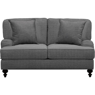 "Avery English Arm Sofa 62"" Depalma Charcoal w/ Depalma Charcoal Pillow"