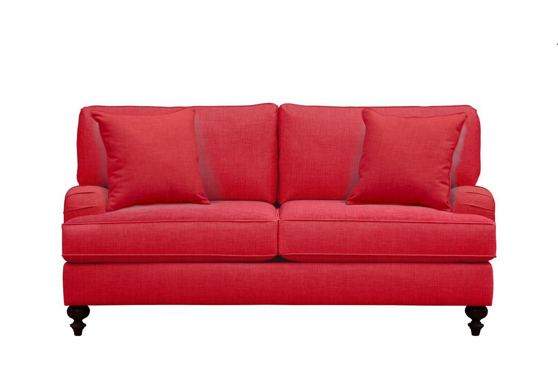 "Living Room Furniture - Avery English Arm Sofa 74"" Depalma Cherry w/ Depalma Cherry Pillow"