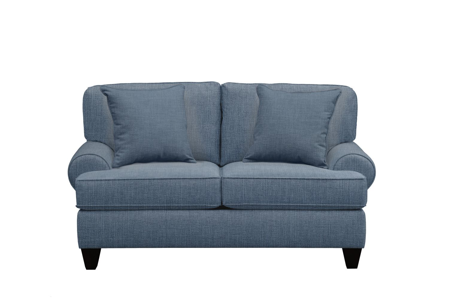 "Living Room Furniture - Bailey Roll Arm Sofa 67"" Milford II Indigo  w/ Milford II Indigo Pillow"