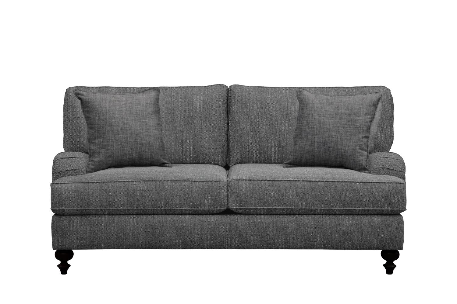 "Living Room Furniture - Avery English Arm Sofa 74"" Depalma Charcoal w/ Depalma Charcoal Pillow"