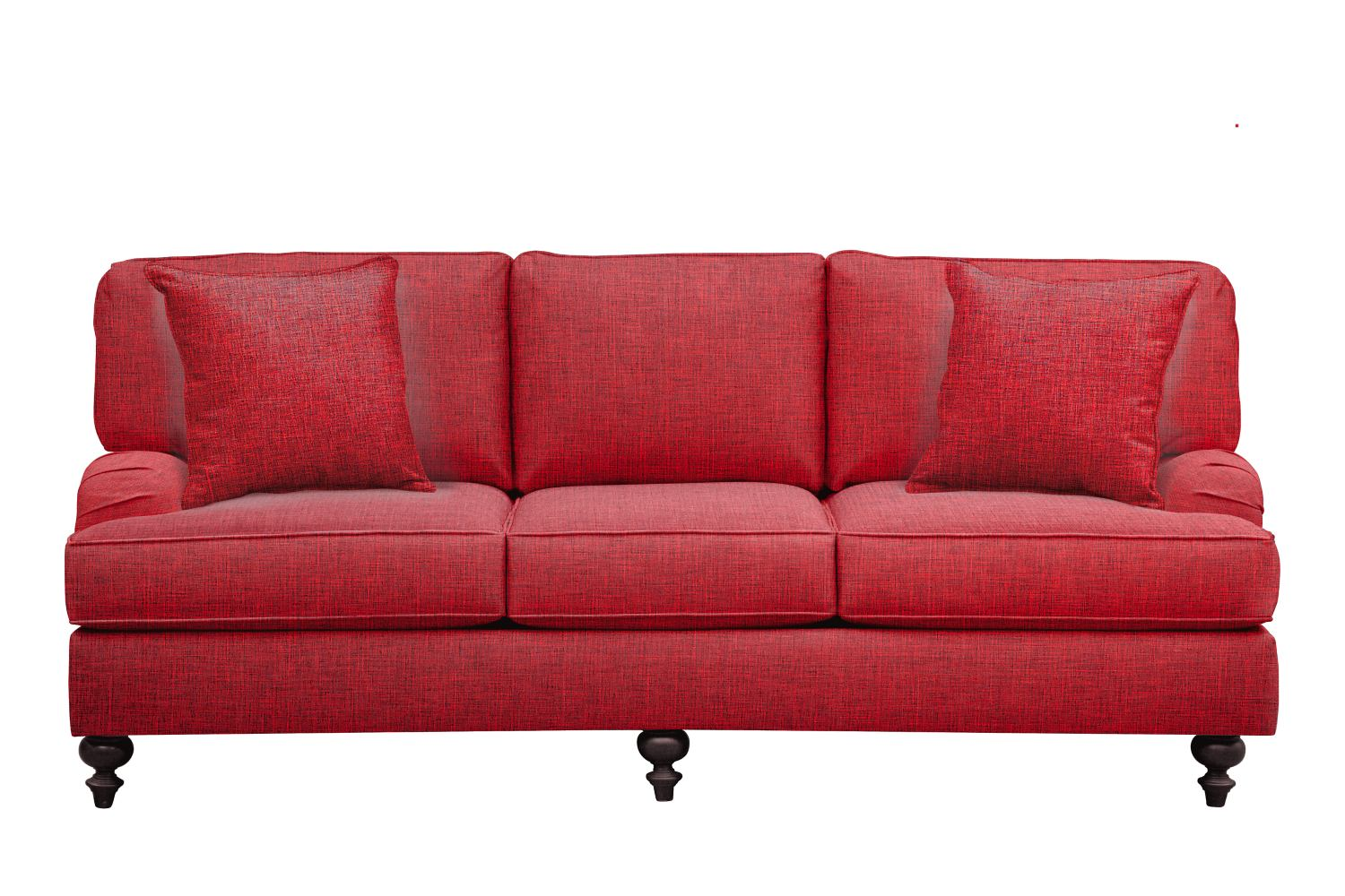 """Living Room Furniture - Avery English Arm Sofa 86"""" Milford II Red w/ Milford II Red  Pillow"""