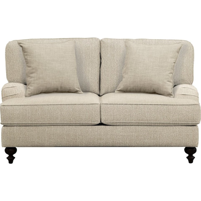 "Living Room Furniture - Avery English Arm Sofa 62"" Depalma Taupe w/ Depalma Taupe  Pillow"
