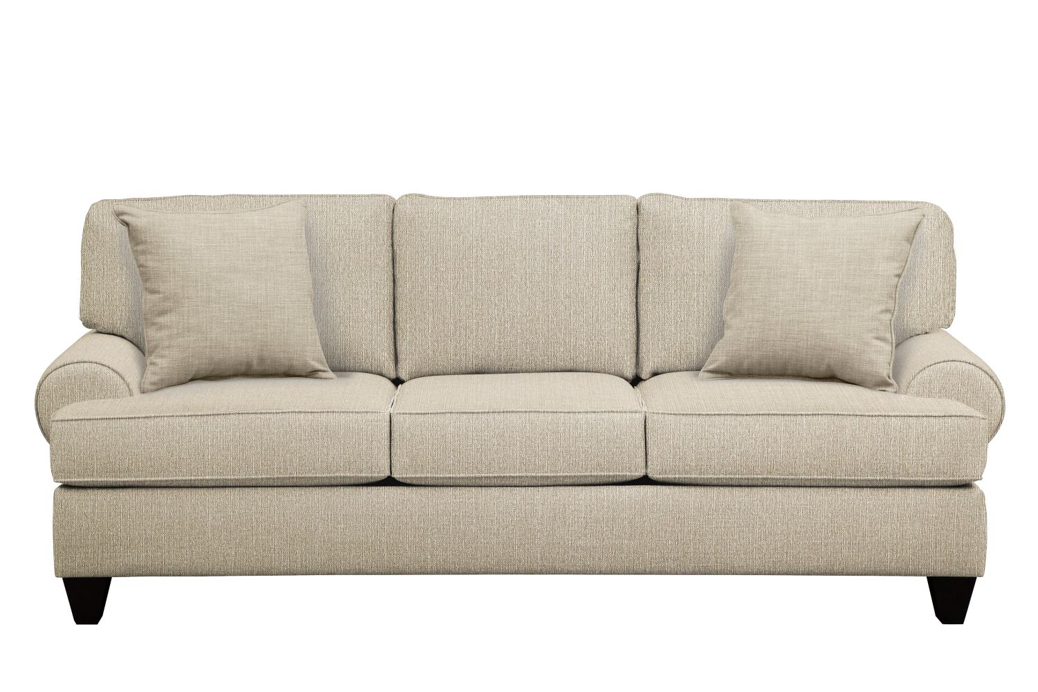 "Living Room Furniture - Bailey Roll Arm Sofa 91"" Depalma Taupe w/ Depalma Taupe  Pillow"