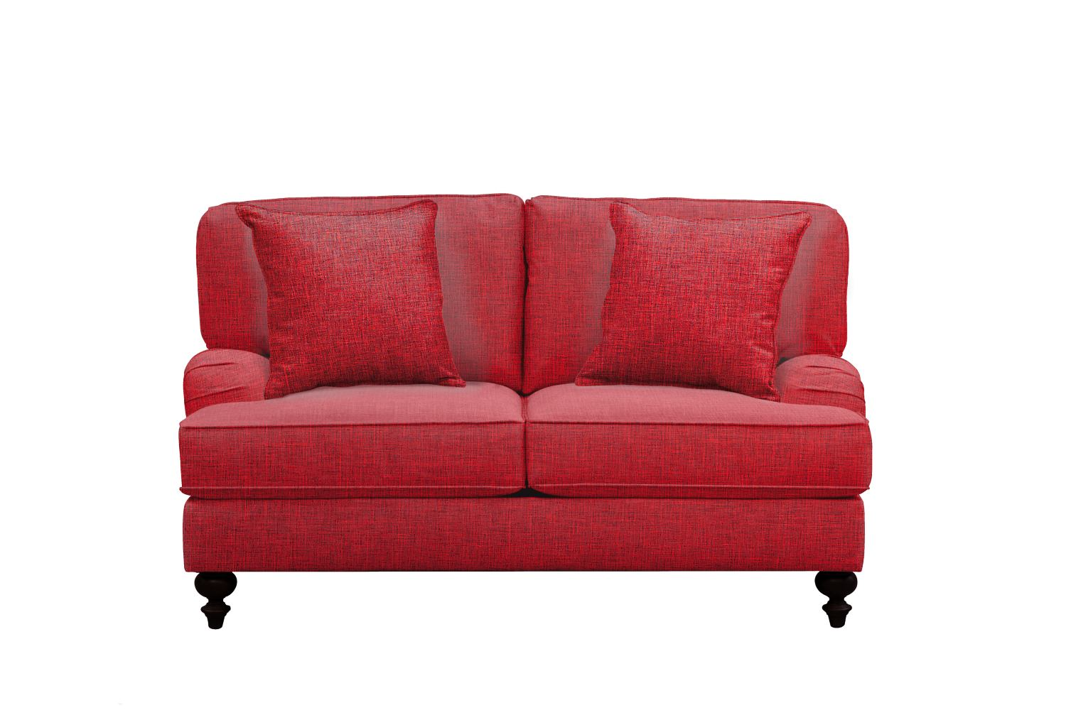 "Living Room Furniture - Avery English Arm Sofa 62"" Milford II Red w/ Milford II Red  Pillow"
