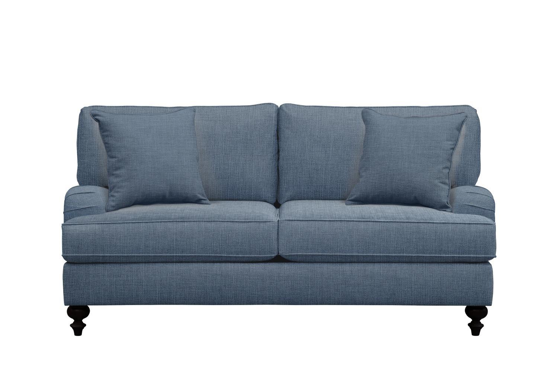 "Living Room Furniture - Avery English Arm Sofa 74"" Milford II Indigo  w/ Milford II Indigo Pillow"