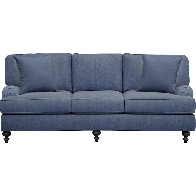 "Living Room Furniture - Avery English Arm Sofa 86"" Depalma Ink w/ Depalma Ink Pillow"