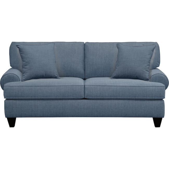 "Living Room Furniture - Bailey Roll Arm Sofa 79"" Milford II Indigo  w/ Milford II Indigo Pillow"